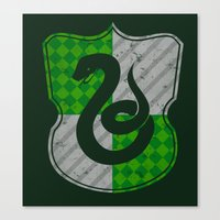 slytherin Canvas Prints featuring Slytherin House by The Things We Love