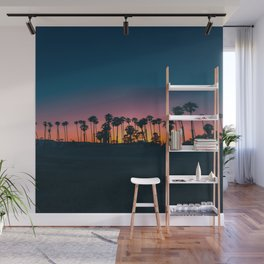 Landscape Photography California Palm Trees Against Purple Pink Yellow Orange Sunset Wall Mural