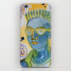 blue man with yellow rimmed glasses iPhone & iPod Skin