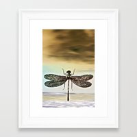 dragonfly Framed Art Prints featuring DRAGONFLY  by Pia Schneider [atelier COLOUR-VISION]