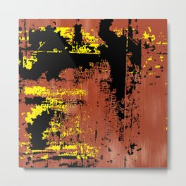 Grunge Paint Flaking Paint Dried Paint Peeling Paint Orange Yellow Black Metal Print