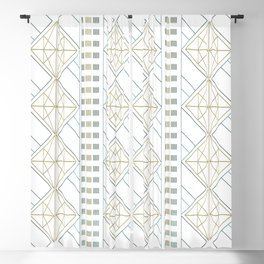 Gold Aqua Geometric Pattern 1.0 Blackout Curtain
