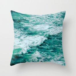 Teal Ocean Sea Waves - Summer Tropical Beach Throw Pillow