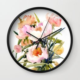 Soft Pink Peonies Asian watercolor Peonies, soft pink, olive green Wall Clock