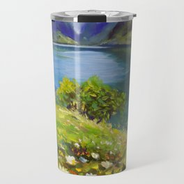 Shore of flowers on lake in mountains - original oil painting by Rybakow Travel Mug