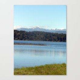 The New  Zealand Alps over a lake Canvas Print