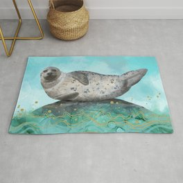Cute Alaskan Iliamna Seal in Banana Pose Rug