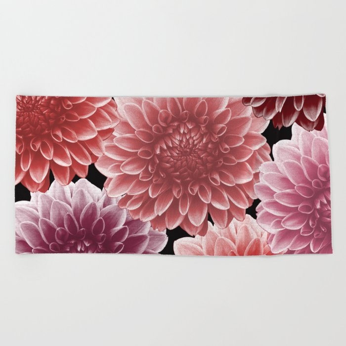 DAHLIAS (flowers abstract pattern) Beach Towel