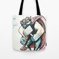 thor Tote Bags featuring Thor by Crooked Octopus