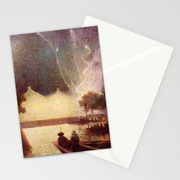 Fireworks over the Port landscape painting by Ferdinand Du Puigaudeau Stationery Cards