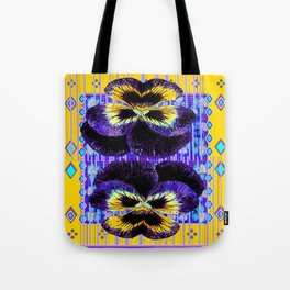 Western Style Double Purple & Gold Pansy Tote Bag