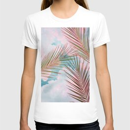 Palms + Sky, Tropical Nature Botanical Travel, Eclectic Graphic Bohemian Blush Clouds T-shirt