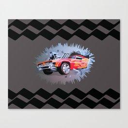 Hot Wheels Car Crashing Through a Wall Canvas Print