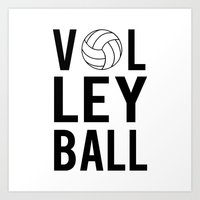 volleyball Art Prints featuring Volleyball (black) by raineon