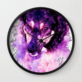 dog 3 perfect purple Wall Clock