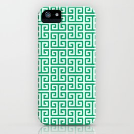 Jade and White Greek Key Pattern iPhone Case