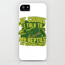 Talking to pet with chameleon gift green iPhone Case