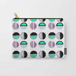 Geometric hand painted black lilac green abstract polka dots Carry-All Pouch