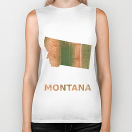 Montana map outline Peru green streaked wash drawing Biker Tank
