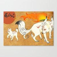 okami Canvas Prints featuring Okami! by Caroline.Sweet