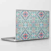 bedding Laptop & iPad Skins featuring Gypsy Floral in Red & Blue by micklyn