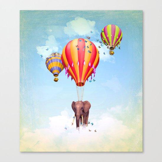 Elephant flying Canvas Print