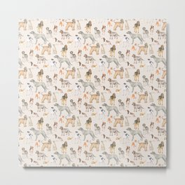 Hound dogs pattern on neutral background Metal Print