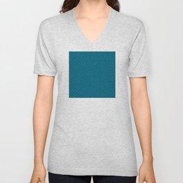 Blue (Bleu) Tres Petit Geometric Pattern Unisex V-Neck