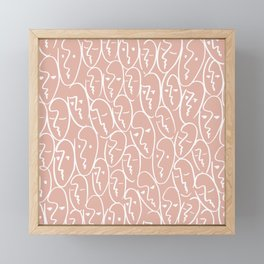 faces / pink Framed Mini Art Print