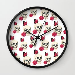 Skull, red rose and red butterfly Wall Clock
