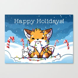 Happy Holidays From Little Fox And Bun Canvas Print