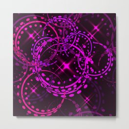 Metallic stars and rings in lilac shades on night sky background. Metal Print