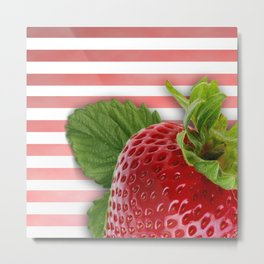 Strawberry Skin and Leaves Pink Stripes Metal Print
