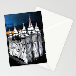 Salt Lake LDS Temple at Dusk Stationery Cards