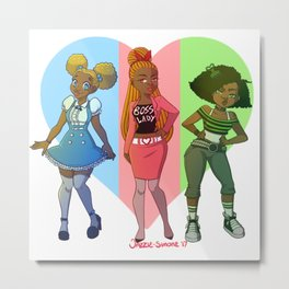 MelaninPuff Girls Metal Print
