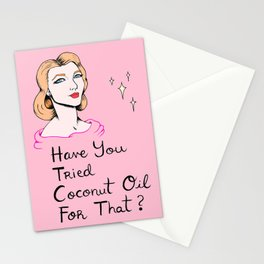 Coconut Oil Gurl - Millennial Pink Stationery Cards