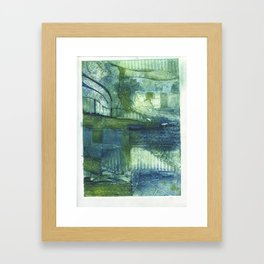 Blue Abstract Collagraph Framed Art Print