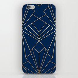 Navy & Gold Art Deco - Large Scale iPhone Skin
