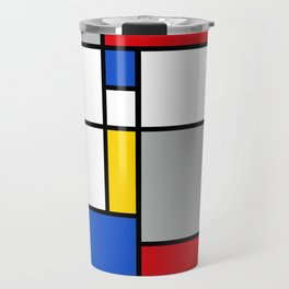 Mondrian Style Color Composition Travel Mug
