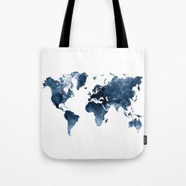World Map Blue Watercolor by Zouzounio Art Tote Bag