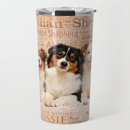 Australian Shepherd dogs  on Word Cloud 1 Travel Mug