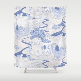 Mythical Creatures Toile Shower Curtain