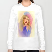 stevie nicks Long Sleeve T-shirts featuring Stevie Nicks in Feathered Beret by Anne Merritt