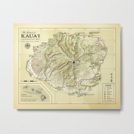 The Island of Kauai [vintage inspired] Topographic Map Metal Print