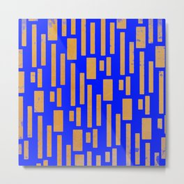 Abstract Bamboo Blue Gold Mid-Century Metal Print