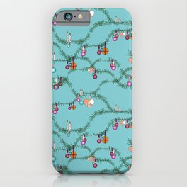 Holiday cheer soft blue iPhone Case