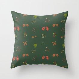 Sap Green Garam Masala Pattern Throw Pillow