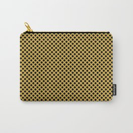 Spicy Mustard and Black Polka Dots Carry-All Pouch