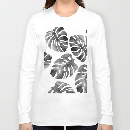 Monstera Black Long Sleeve T-shirt