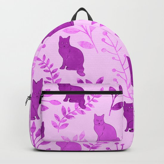 Watercolor Floral and Cat V Backpack